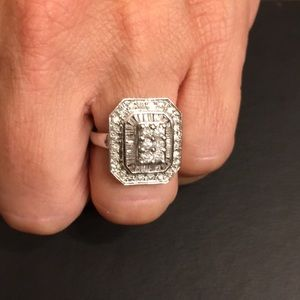 Jewelry - 1 Ctw Diamonds/14k White Gold Art Deco Design Ring